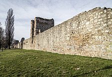 Piers and graffiti in Smederevo Fortress in Serbia - 16856-510