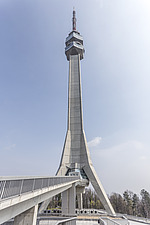 The Avala telecommunications tower, on mount Avala, outside Belgrade, Serbia - 16856-600