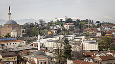 A view of the old town in Skopje Macedonia, showing the Museum of Macedonia, the Skopje Museum of Contemporary Art, and the Mustafa Pasa Mosque - 16856-670