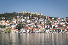 Ohrid, Macedonia, seen from Lake Ohrid, with the medieval Fort Samuel perched above it - 16856-860