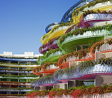 Foliage and coloured wires on balconies of the apartments of Las Boas de Ibiza, Ibiza, Spain - 14143-50-1