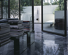 Modern  mirror tables with books, marble floor and open pivot glass wall onto patio garden - 10548-190-1