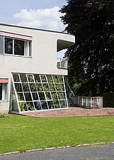 Conservatory and terrace on corner of modernist, Bauhaus style house by Hans Scharoun 1930-33, after 2012 renovation, Lusatia, Germany - 40085-1280-1