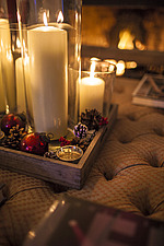 Lit candles and Christmas decorations in Chichester home, England, UK - 14877-20-1