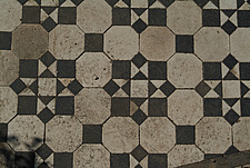 Close up of a Victorian black and white mosaic tiled path - 10639-200-1