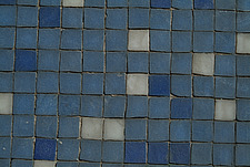 Close up of small square blue mosaic tiles - 10639-220-1