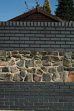 Close up of stripes formed by grey brick wall and crazy block wall - 10639-320-1