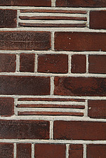 Close up of a red clay brick, tile and mortar wall - 10639-410-1