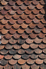 Close up of red shingles roof tiles - 10639-80-1