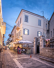 Exterior view at dusk of apartment renovation at the historic centre of Nafplio, Greece  - 16941-110