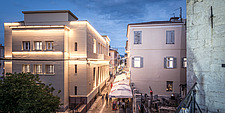 Exterior view at dusk of apartment renovation at the historic centre of Nafplio, Greece  - 16941-120