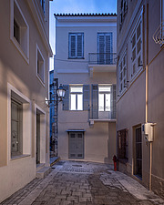 Exterior view at dusk of apartment renovation at the historic centre of Nafplio, Greece  - 16941-130