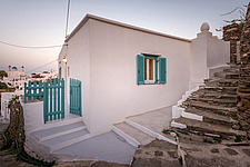 Exterior view at sunset of vernacular house renovation in Sifnos island Greece by Katerina Komi - 16942-180