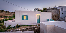 Exterior view at dusk of vernacular house renovation in Sifnos island Greece by Katerina Komi - 16942-190
