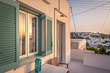 Exterior view at sunrise of vernacular house renovation in Sifnos island Greece by Katerina Komi - 16942-240