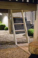 The hand crafted ladder of the Tea House by Terunobu Fujimori, exhibited as part of the Japanese House: Architecture and Life after 1945 exhibition at... - 16955-30