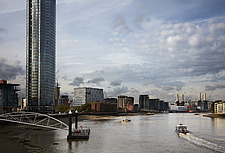 View southwest from Vauxhall bridge, US Embassy, Nine Elms, London - ARC100979