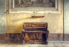 a piano in an abandoned villa with a beautiful fresco on the background in Italy - ARC101468