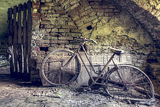 a bicycle against the wall in the cellar of an abandoned villa in Italy - ARC101495