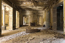a room in an abandoned villa with a boat on the floor in Italy - ARC101512