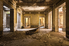 a room in an abandoned villa with a boat on the floor in Italy - ARC101515