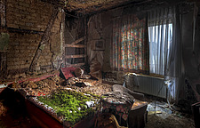 a bed covered in moss in an abandoned hotel in Germany - ARC101520