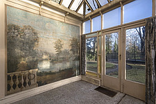 a room full of windows and a beautiful drawing in an abandoned villa in Belgium - ARC101522