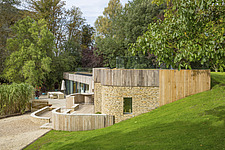 Exterior of Ashbrook House, a contemporary family eco-house in Blewbury, South Oxfordshire, UK - ARC102948