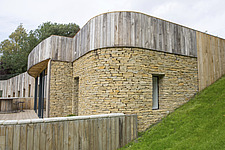 Exterior of Ashbrook House, a contemporary family eco-house in Blewbury, South Oxfordshire, UK - ARC102962