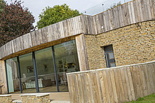 Exterior of Ashbrook House, a contemporary family eco-house in Blewbury, South Oxfordshire, UK - ARC102969