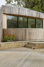 Exterior of Ashbrook House, a contemporary family eco-house in Blewbury, South Oxfordshire, UK - ARC102973