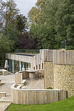 Exterior of Ashbrook House, a contemporary family eco-house in Blewbury, South Oxfordshire, UK - ARC102976
