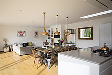 Kitchen diner in Ashbrook House, a contemporary family eco-house in Blewbury, South Oxfordshire, UK - ARC102977