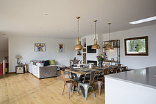 Kitchen diner in Ashbrook House, a contemporary family eco-house in Blewbury, South Oxfordshire, UK - ARC102979