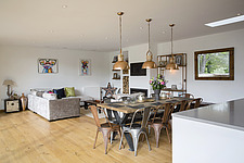 Kitchen diner in Ashbrook House, a contemporary family eco-house in Blewbury, South Oxfordshire, UK - ARC102980