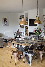 Kitchen diner in Ashbrook House, a contemporary family eco-house in Blewbury, South Oxfordshire, UK - ARC102986