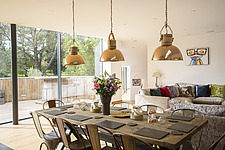 Kitchen diner in Ashbrook House, a contemporary family eco-house in Blewbury, South Oxfordshire, UK - ARC102990