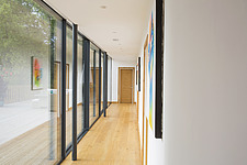 Hallway of Ashbrook House, a contemporary family eco-house in Blewbury, South Oxfordshire, UK - ARC102993
