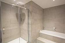 Bathroom  in Ashbrook House, a contemporary family eco-house in Blewbury, South Oxfordshire, UK - ARC103004