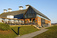 Exterior of Snape Maltings Concert Hall ##38; Concert Hall Cafe, renovated malting buildings, Snape Maltings, Snape, Suffolk, UK - ARC103445