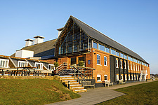 Exterior of Snape Maltings Concert Hall ##38; Concert Hall Cafe, renovated malting buildings, Snape Maltings, Snape, Suffolk, UK - ARC103446