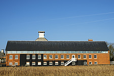 Exterior of Snape Maltings Concert Hall ##38; Concert Hall Cafe, renovated malting buildings, Snape Maltings, Snape, Suffolk, UK - ARC103458