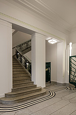 Staircase in the lobby of the iconic art deco Hoover Building in London, UK which has been converted into apartments by Interrobang Architects and Web... - ARC103577