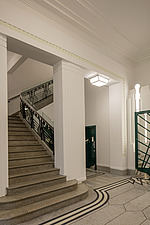 Staircase in the lobby of the iconic art deco Hoover Building in London, UK which has been converted into apartments by Interrobang Architects and Web... - ARC103579