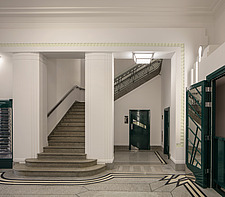 Staircase in the lobby of the iconic art deco Hoover Building in London, UK which has been converted into apartments by Interrobang Architects and Web... - ARC103580