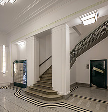 Staircase in the lobby of the iconic art deco Hoover Building in London, UK which has been converted into apartments by Interrobang Architects and Web... - ARC103581