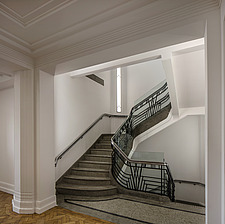 Staircase in the communal area in the iconic art deco Hoover Building in London, UK which has been converted into apartments by Interrobang Architects... - ARC103549
