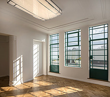 Communal area in the iconic art deco Hoover Building in London, UK which has been converted into apartments by Interrobang Architects and Webb Yates E... - ARC103565