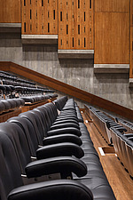 Rows of seating in the restored Purcell Room at the Queen Elizabeth Hall, Southbank Centre, London - ARC103601