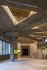 The restored triangular roof lights of the Queen Elizabeth Hall foyer, the restored Purcell Room at the Queen Elizabeth Hall, Southbank Centre, London - ARC103620